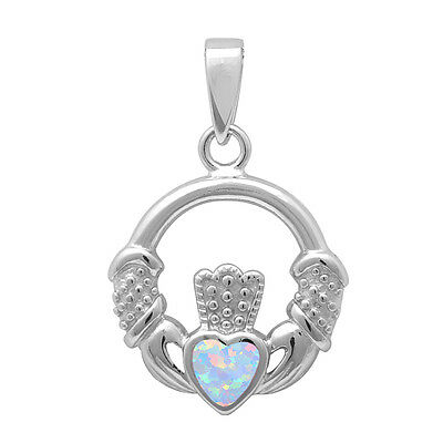 Claddagh White Pendant - White Opal Irish Claddagh Heart .925 Sterling Silver Pendant