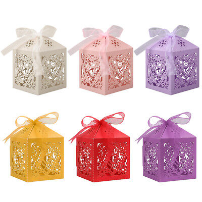 25/50/100Pcs Hollow Love Heart Favor Ribbon Gift Box Candy Boxes Wedding Party (Gift Box Favors)