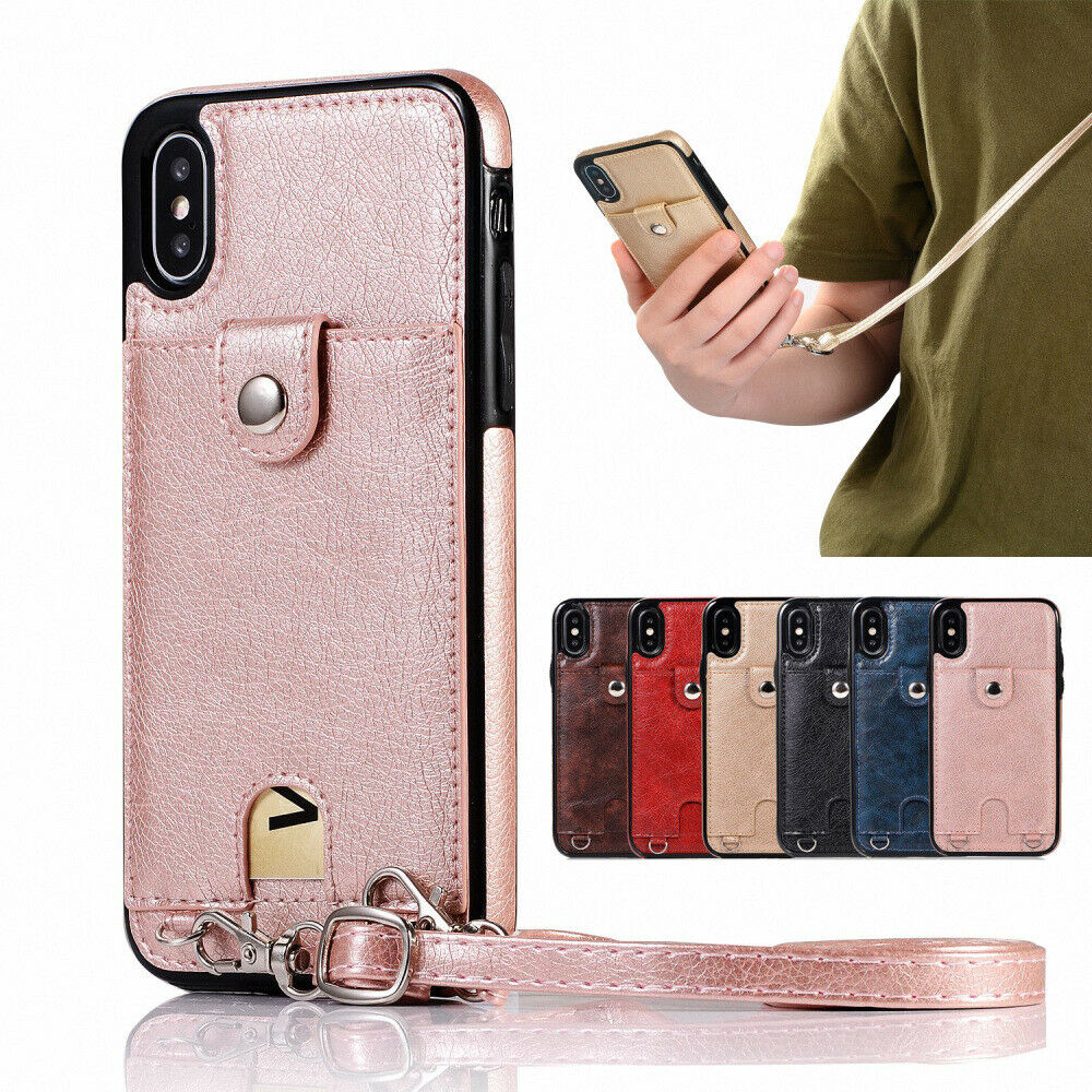 Leather Back Card Wrist Cross body Strap Case Cover For iPho