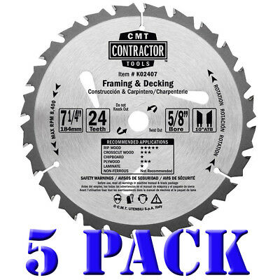 Decking Blade (CMT K02407 ITK Contractor Framing/Decking Saw Blade 5 Pack, 7-1/4 x 24 Tooth)