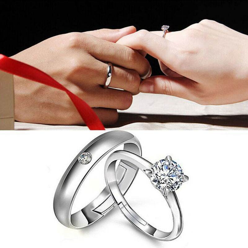 1Pair Woman Men Engagement Silver Plated Opening Couple Ring