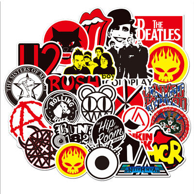 Lot of 50Pcs Punk Retro Metal Heavy Rock n Roll Vintage Music Band Stickers](Rolls Of Stickers)