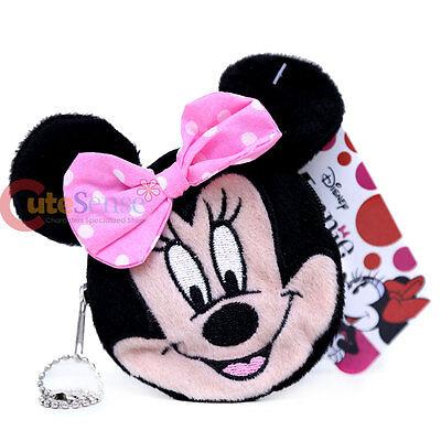 Disney Minnie Mouse Face Plush Coin Wallet Round Mini Purse Key Chain ](Mini Mouse Face)