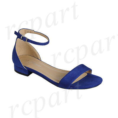 New women's shoes open toe buckle closure low heel suede like wedding Royal blue