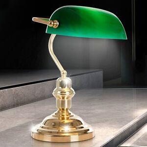 Nostalgie Schreibtisch Lese Leuchte Retro Bankers Lampe Tisch Messing Glas grün