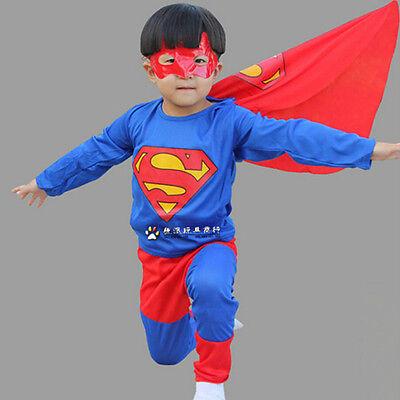 Kid Boys Superman Hero Tops T-shirt+Pants Mask Outfits Set Costume - Boys Hero Costumes
