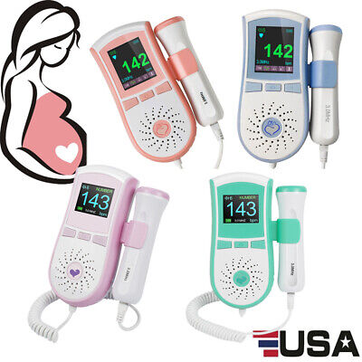 Fetal Doppler Prenatal Baby Heart Monitor W Gelcolor Lcd Display 3.0mhz 4-mode
