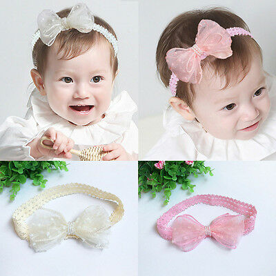 New Kid Baby Girls Princess Cute Bowknot Lace Headband Elastic Headwear Hairband