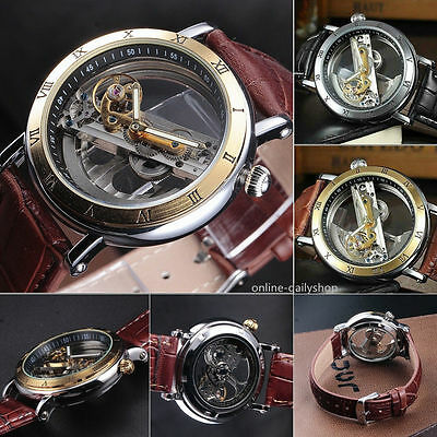 Luxury Mens Skeleton Bridge Leather Steampunk Automatic Mechanical Wrist Watch