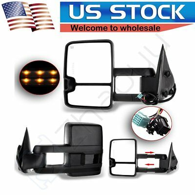 [Updated Style] 03-07 Silverado Sierra Power+Heated+Smoke LED Signal Tow Mirrors