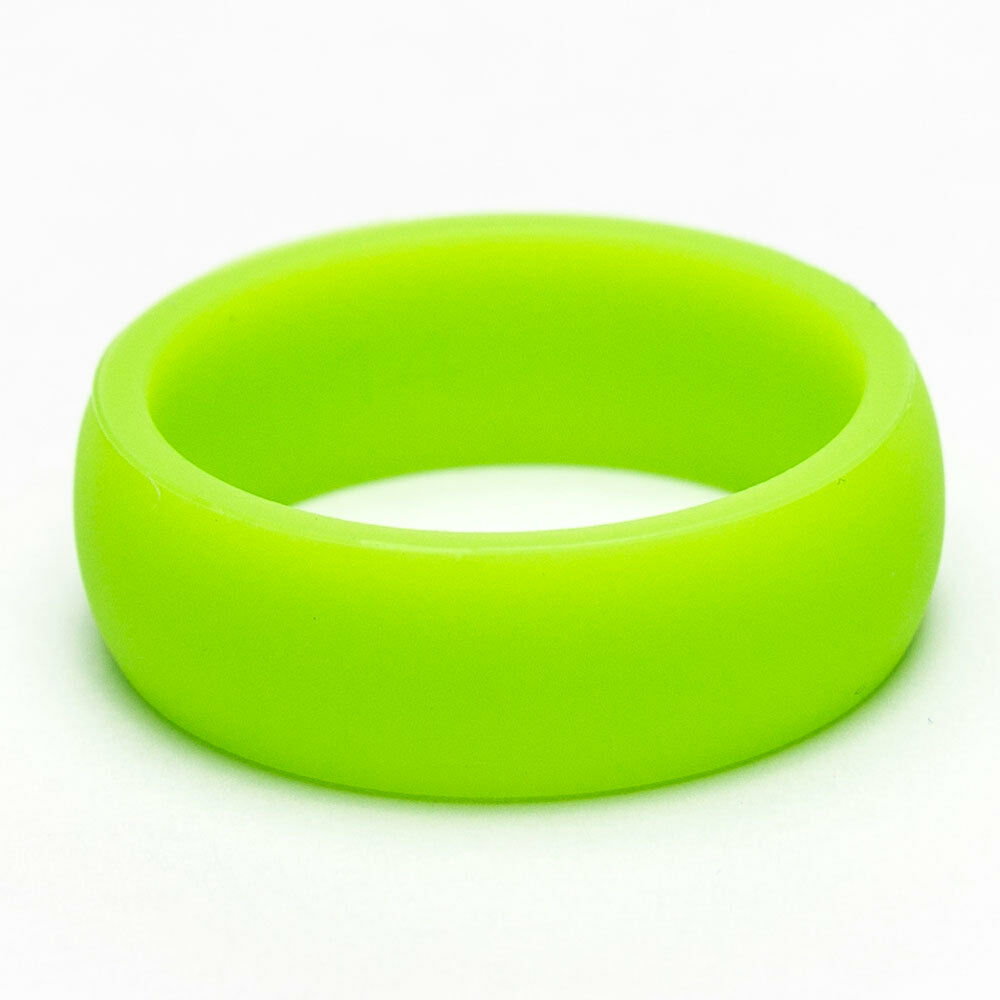 NEON GREEN SILICONE WEDDING BAND/WORKOUT RING FOR MEN/UNISEX