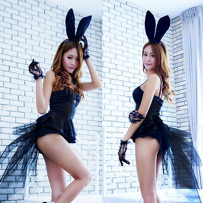 Sexy Adult Women Lady Rabbit Bunny Party Cosplay Costume Teddy Fancy Dress Black