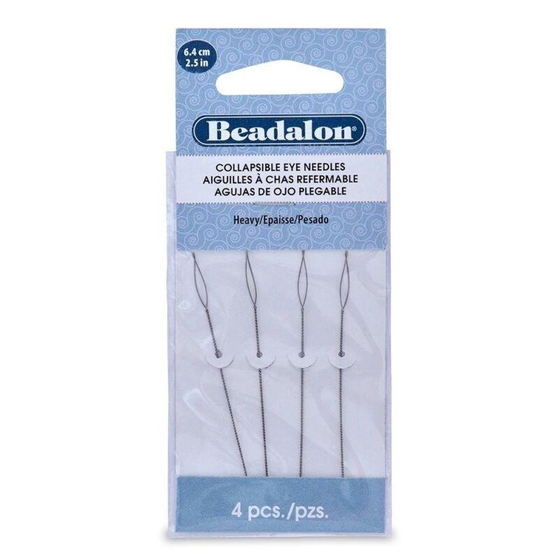 Beadalon Collapsible Eye Needle 2.5-Inch Heavy 4-Pack Beading Needles BPCENDHVY