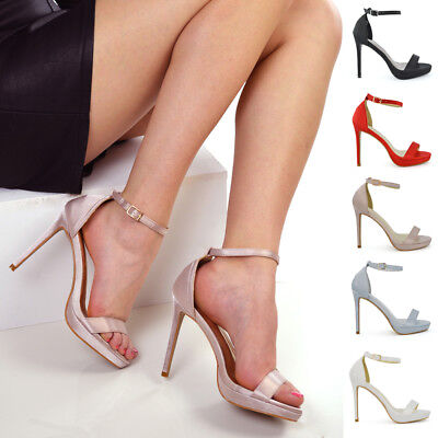 Womens Bridal Heel Satin Sandals Ladies Platform Ankle Strap Party Prom Shoes Satin Platform Sandal