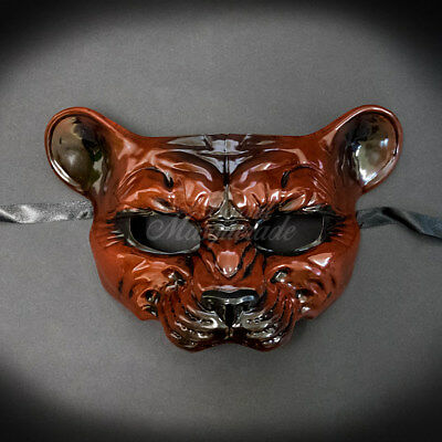 Masquerade Mask New Reddish-Brown Cougar Halloween Props Animal Costume Unisex (Cougar Halloween)