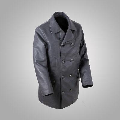 Repro Kriegsmarine Submarine WW2 U-Boat Faux Leather Coat Men's Military Uniform
