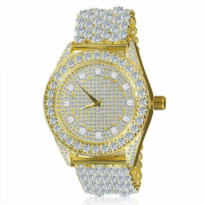 Men's Yellow Gold Tone Lab Simulated Diamond Solitaire Custom Luxury Band Watch Gold Tone Solitaire