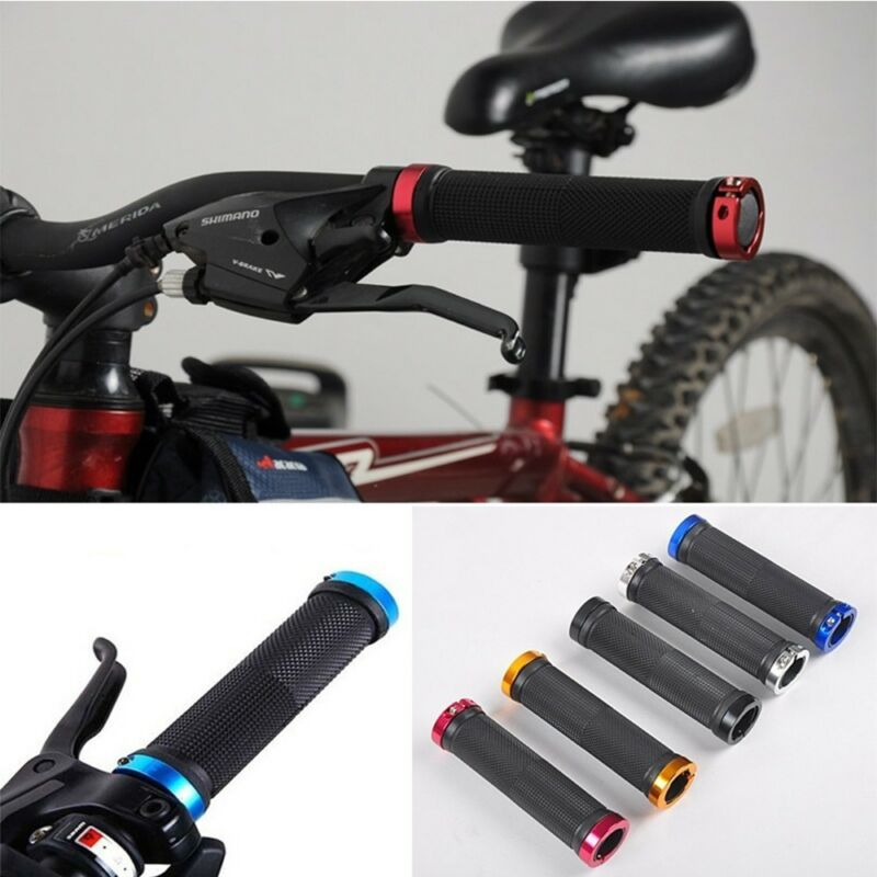 1 Pair Double Lock On Locking Bicycle Mountain Bike Cycling Handle Bar Grips