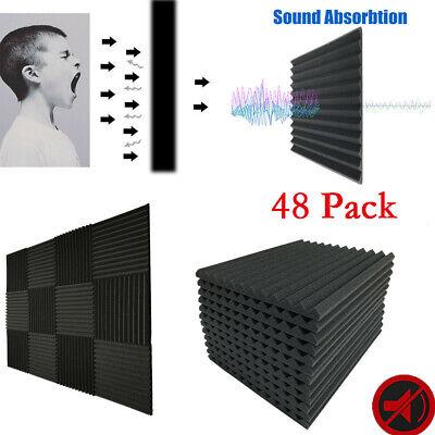 "48 Pack - Foam Acoustic Panels Studio Soundproofing Foam Wedge tiles 1""x12""x12"""