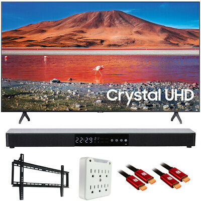 "Samsung UN55TU7000 55"" 4K Ultra HD Smart LED TV (2020) with Deco Gear Soundbar B"