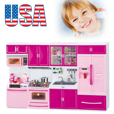 Best Mini Kitchen Pretend Play Cooking Set Cabinet Stove Pot Pan Toy For Kid