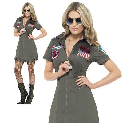 Ladies Deluxe Top Gun Fancy Dress Costume Aviator Pilot Womens Outfit - Pilot Fancy Dress Kostüm