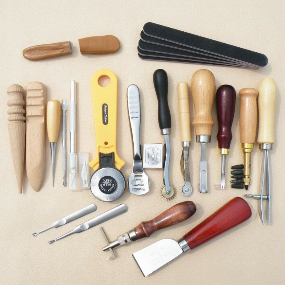 24pcs Leather Craft Punch DIY Tools Kit Set For Hand Carving Stitching Sewing