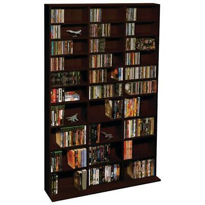 Atlantic 71x40 Oskar Adjustable Shelf Wood Media Storage Wall Bookcase Espresso