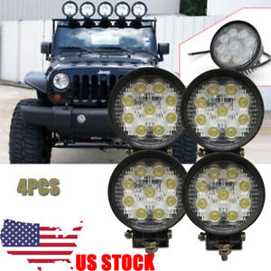4X 4Inch Round Pod Flood LED Driving Fog Lights Off Road Work Light Jeep Wrangle