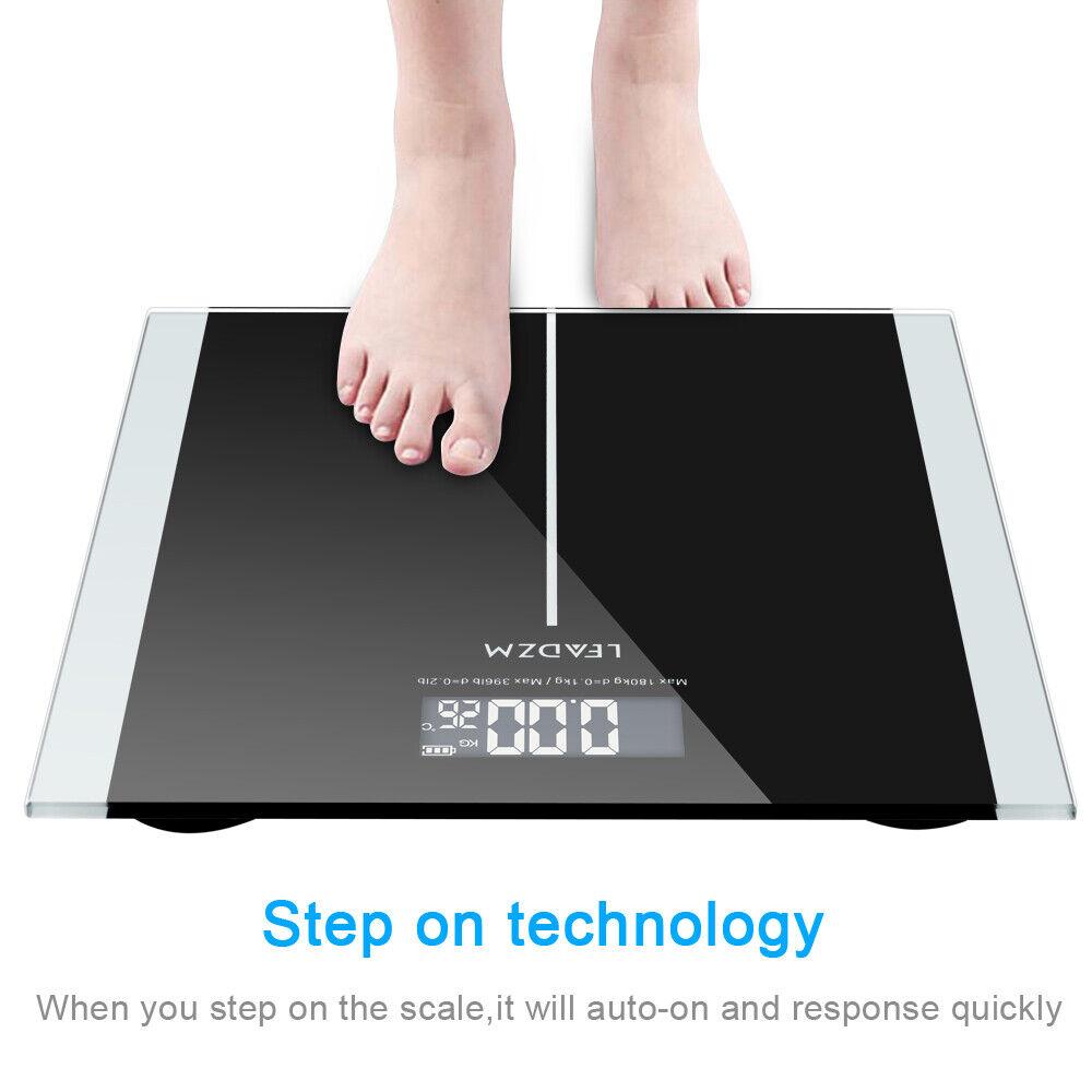 digital body weight bathroom scale with step