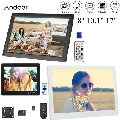 "15/17"" HD Digital Photo Frame Alarm Clock Music Player Album Remote Control T9N4"