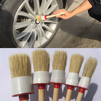 Soft Wood Handle Paint Car Wash Detailing Brush Clean Dash For Auto Seat Wheel