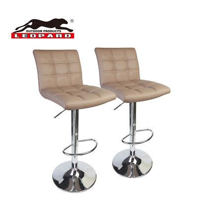 Leather Square Bar Stool - Leopard Square Back Adjustable PU Leather Bar Stool With Back, Khaki, Set of 2