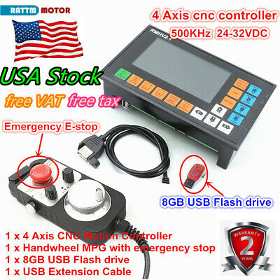 Us4 Axis Cnc Motion Controller System Offline Plc Mpg Handwheel Emergency Stop