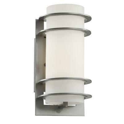 Bel Air Lighting 1-Light Outdoor Silver Cylinder Wall Lantern With Frosted Glass