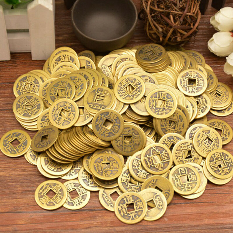 """50 Feng Shui Lucky Coin  0.9"""" 23mm Chinese Fortune Ching  Dragon Brass Coins"""