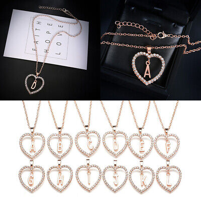 Crystal Alphabet (Women 26 Letter Alphabet Heart Crystal Necklace Pendant Chain Charm Jewelry Gift)