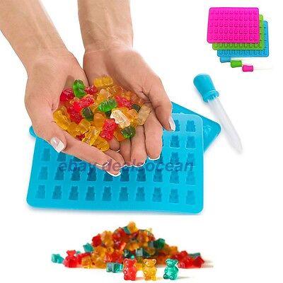 Pack of 2 Silicone Gummy Bear Molds Maker Trays - ONE BONUS DROPPER