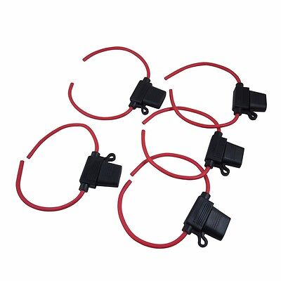 5pcs Inline 12 Gauge Awg Ato Blade Fuse Holder Water-resistant F Car Boat Truck