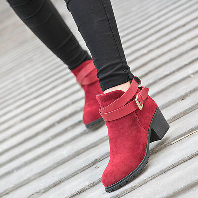 Women Winter Snow Low Heel Ankle Boot Buckle Wedge Martin Boots Ladies Shoes  9