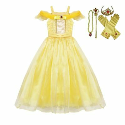 Beauty Belle Costume (Belle Dress Costume Gown  Princess Girl Beauty and The Beast )