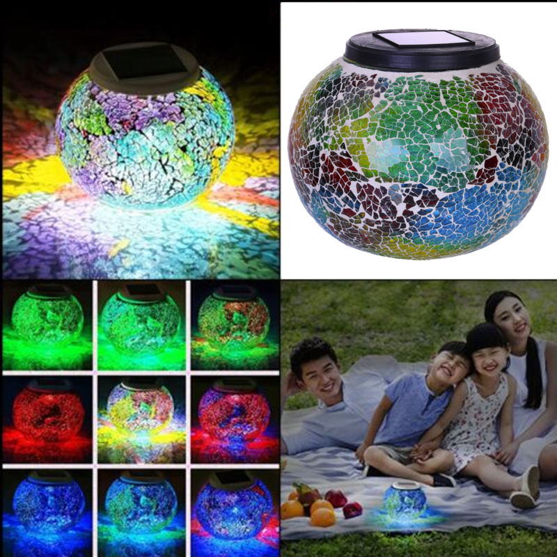 Colors Changing Solar Powered Glass Ball LED Garden Lights T