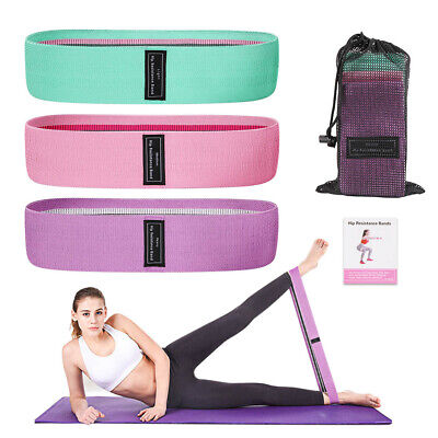 3 Fabric Resistance Bands Hip Circle Glute Booty Butt Exercise Loop Set Non Slip