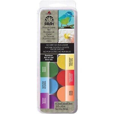 FolkArt Dry Brush STENCIL CREME Cream Paint Set 6/Pkg ~ RAINBOW ()