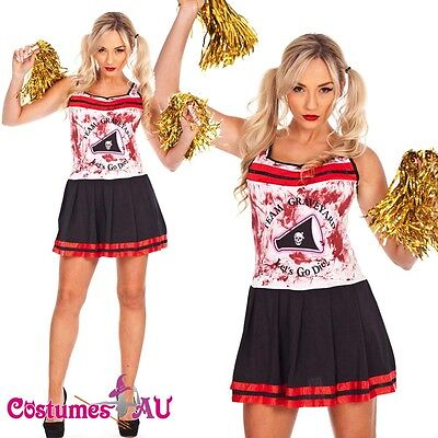 Ladies Halloween Zombie Bloody Cheerleader Costume Fancy Dress Party - Bloody Cheerleader