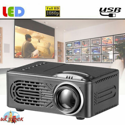 Portable Mini Projector Full HD 1080P Home Theater Cinema Video USB SD AV UK