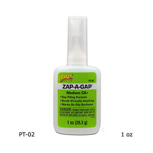 Zap-A-Gap PT02 CA+ Super Glue Medium Viscosity (1 oz / 28.3 g)