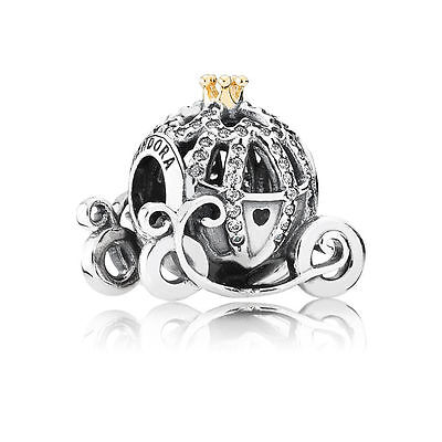 Authentic PANDORA 14k Gold Cinderella Pumkin Coach Disney Charm 791573CZ