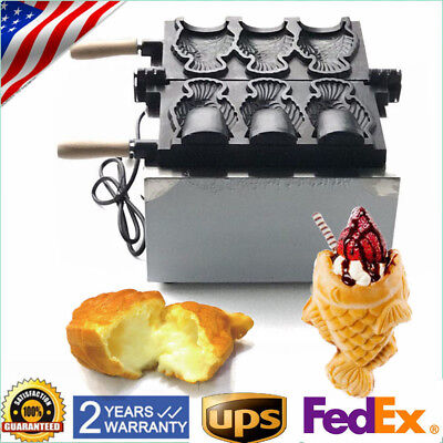 Commercial Nonstick Electric 3pcs Fish Waffle Ice Cream Taiyaki Maker best item