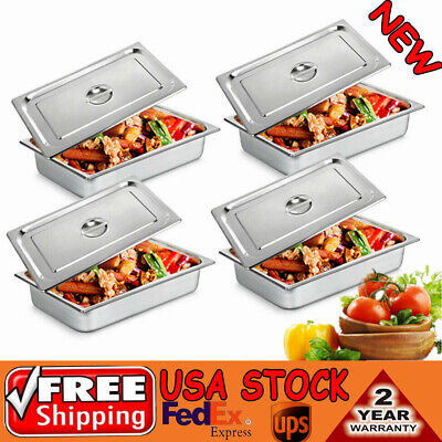 4 Pack 4 Deep Full Size Food Prep Stainless Steel Pans Steam Table Pans W Lids